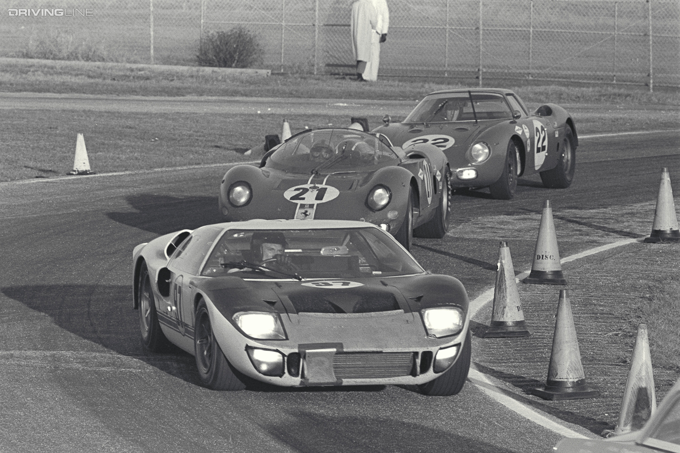 Daytona 24 Hour Race, Daytona, FL, 1966. Dan Gurney (#97) in his Ford Mark II leads two Ferraris. CD#0777-3292-0443-1