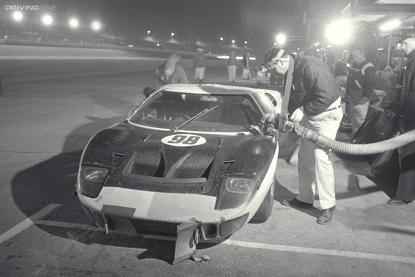 Daytona 24 Hour Race, Daytona, FL, 1966. Race winning Ford Mark II driven by Ken Miles/Lloyd Ruby makes a scheduled pit stop. CD#0777-3292-0443-3