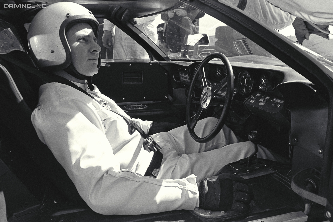 Daytona 24 Hour Race, Daytona, FL, 1966. Bruce McLaren in the cockpit of a Ford Mark II. CD#0777-3292-0443-7