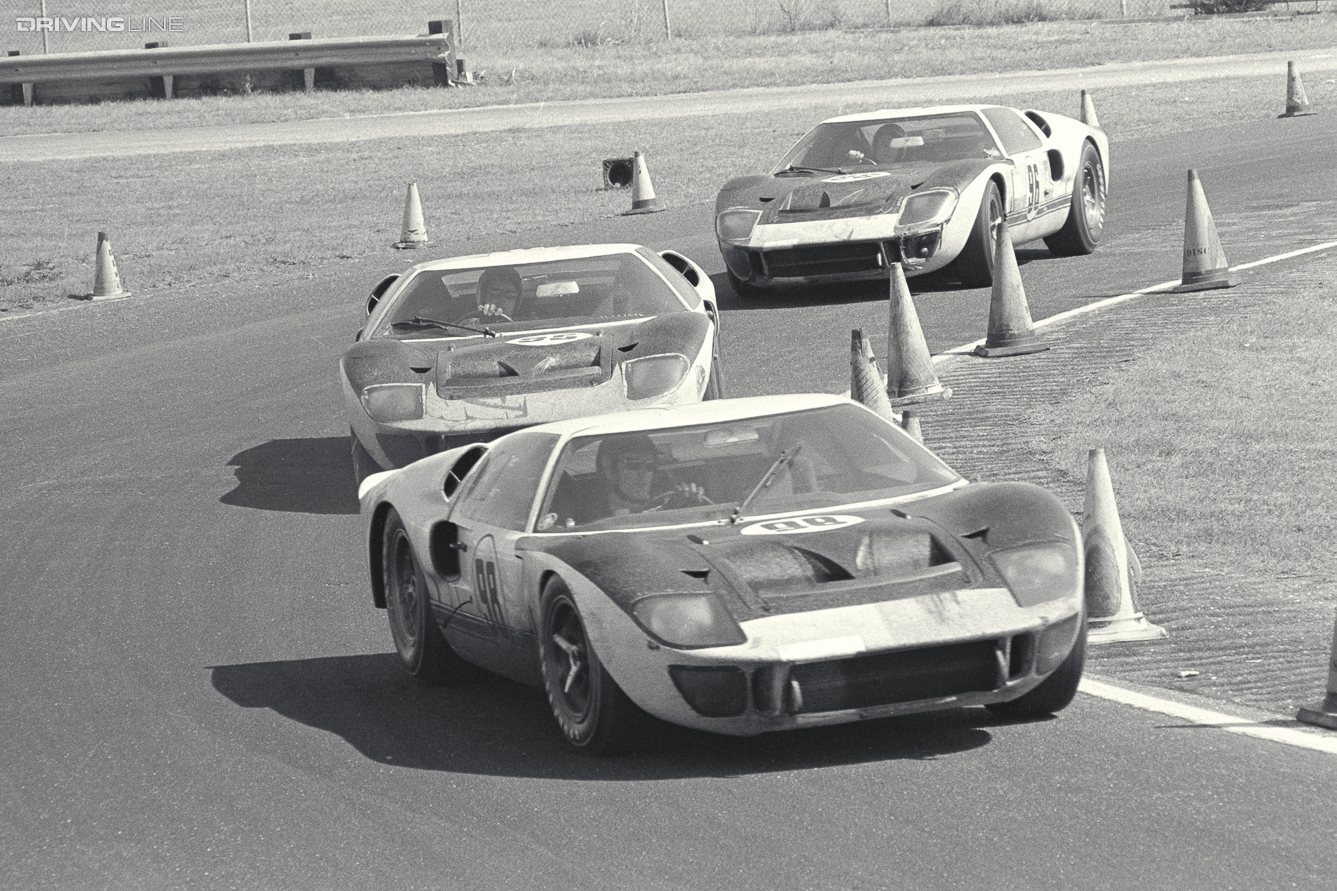 Daytona 24 Hour Race, Daytona, FL, 1966. Winning Ford Mark II (#98) leads two other Ford Mark II cars (#95 and #96). CD#0777-3292-0443-10